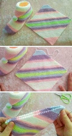 Simple Step by Step Slippers Tutorial - Free Knitting Patterns - Knitting for beginners,Knitting patterns,Knitting projects,Knitting cowl,Knitting blanket Diy Crafts Knitting, Loom Knitting, Knitting Patterns Free, Free Knitting, Knitting Socks, Sewing Patterns, Crochet Patterns, Kurti Patterns, Knit Slippers Free Pattern