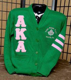 Alpha Kappa Alpha Sorority Green Cardigan sweater: