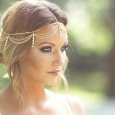 Boho Gold Draping Chain Fringe Rhinestone Hair Cuff Arabian Head Piece Jewellery #Uniklookfashionjewelry #headchain