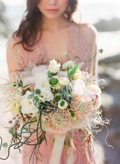 Textural pastel bridal bouquet | Laura Murray Photography | see more on: http://burnettsboards.com/2015/01/salt-earth-malibu-beach-wedding/