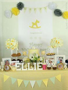 Yellow theme 100th Day Party Table / Korean Baek-il Party / 한국 백일 잔치