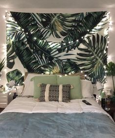 Sunm Boutique Tapestry Wall Hanging Palm Tree Leaves Tapestry Vintage Tapestry Wall Tapestry Micro Fiber Peach Home Decor (Palm Tree Cute Bedroom Ideas, Cute Room Decor, Room Ideas Bedroom, Home Decor Bedroom, Bed Room, Bedroom Green, Green Rooms, Tropical Bedrooms, Tropical Bedroom Decor