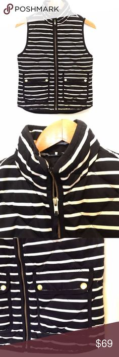 """J Crew Excursion Quilted Vest Size XS Striped J Crew navy blue and ivory striped quilted puffer vest.  Tailored for a fitted look.   Size XS  Bust underarm to underarm:  18"""" Body length: 24""""  Hits at hip.  Slim and warm, yet light as air and likes to layer.  Size XS  Down-filled poly.  Standing collar.  Zip closure.  Patch pockets.  Machine wash.  Import.  Item 02727. J. Crew Jackets & Coats Vests"""