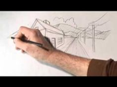 Karl draws a road, house and phone poles all disappearing into distant mountains. The road, phone po