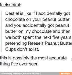 WHY IS DESTIEL EVEN A THING GOOD LORD NO!!!!! DEAN AND LISA CAS AND MEG SAM AND JESS IT IS SO FREAKING SIMPLE