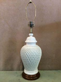 Vintage Stiffel Cooper White Porcelain Ceramic Table Lamp Lattice Pattern