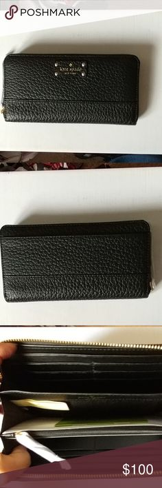"""Kate Spade Bay Street Neda wallet New with tag. Zip around. Black with gold hardware. 7.5""""L x 4""""H x 1""""D. 12 card slots. Zipper change pocket. Exterior slide pocket. kate spade Bags Wallets"""