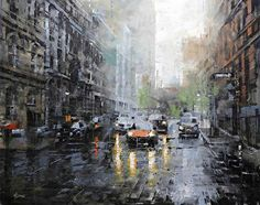 Old Montreal November by Mark Lague Oil ~ 24 x 30