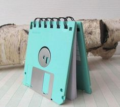 Too funny! Mini notebooks made from recycled floppy disks, byFishstikks.