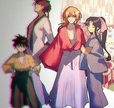 Yahiko, Sanosuke, kenshin, Kaoru