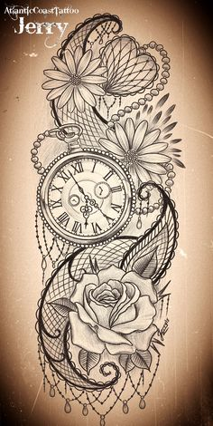 pocket watch and flowers tattoo design idea, mendi and rose, daisy