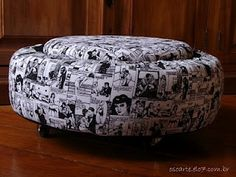 DIY ottoman out of used tires - would be good for the basement / kids room