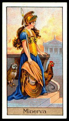"#12 Minerva ~ Roman Goddess of Wisdom and the Arts, Boguslavsky's Cigarettes ""Mythological Gods  Goddesses"" (series of 25 issued in 1924)"