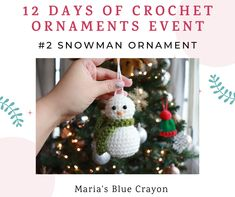 Cute, easy, and simple! Crochet this snowman ornament for your tree with this free crochet pattern. Crochet Christmas Decorations, Crochet Christmas Ornaments, Christmas Crochet Patterns, Holiday Crochet, Snowman Ornaments, Christmas Crafts, Xmas Decorations, Snowmen, Handmade Christmas