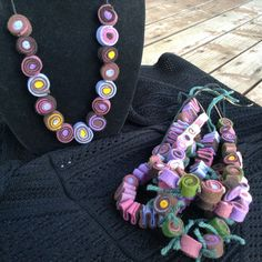 """28"""" Wool Felt Ball Necklace, Multi Colored, on Soft Black Cord, Mauve, Brown, Gold, Bold Statement Jewelry"""