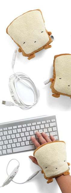 Toast-y USB Hand Warmers - plug them into your computer to keep hands nice and cozy