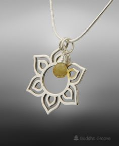 Handmade sterling silver lotus pendant necklace with citrine gemstone for