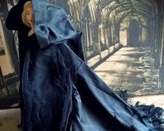 Dollhouse Reaper hooded cloak in Silk 1/12th scale miniature + BJD/ MSD + SD sized dolls FantasyFairy theme