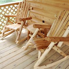 You can really take in the view in these awesome chairs on your screened front porch when staying in an Up Country Camping cabin at Natural Springs Resort.