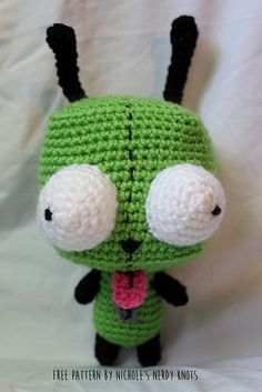 """Gir from Invader Zim - Free Amigurumi Pattern - Click to """"download"""" or """"free Ravelry download"""" here: http://www.ravelry.com/patterns/library/gir-from-invader-zim-2"""