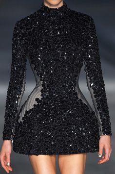 Sequins, black, stones, structural, architectual fashion from Alexander Mcqueen