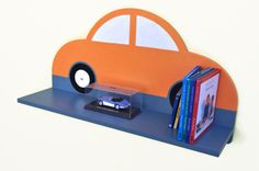 SALE! Fun Car Shelf - Orange.  EcoFriendly for Bedroom, Nursery or Playroom. £20.00