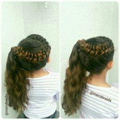 Lace dutch braid into high side ponytail
