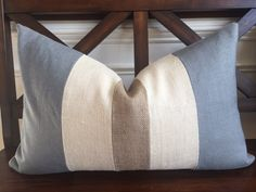 Cream and Pearl Gray Linen/ Cotton with Burlap Accent Stripes Lumbar Pillow Cover Handmade Pillow Covers, Handmade Pillows, Decorative Pillows, Bow Pillows, Burlap Pillows, Couch Pillows, Cushions, Burlap Fabric, Burlap Bows