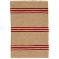 An easy-care, eco-friendly rug in a goes-with-anything, classic stripe? It's true! This durable indoor/outdoor area rug, in a deep beige with narrow red stripes, is a natural fit for the lake house, the cabin, or home, sweet home!Made of 100% PET, a polyester fiber made from recycled plastic bottles.In order to achieve its rustic charm, this rug has been woven with large-diameter yarns. Consequently, slubs, knots, and other imperfections inherent to the hand-weaving process may be more v...