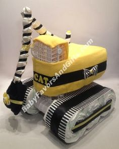 Unique Diaper Cakes, Baby shower gifts, centerpieces, table decorations, favors: Caterpillar (CAT) Excavator Diaper Cake