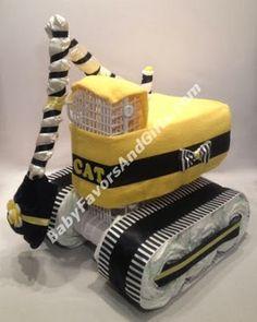 Unique Diaper Cakes, Baby shower gifts, centerpieces, table decorations, favors: Caterpillar (CAT) Excavator Diaper Cake