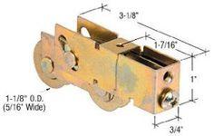 CRL Sliding Glass Door Roller with 1-1//8 Tandem Steel B.B Wheels; 9//16 Wide Housing