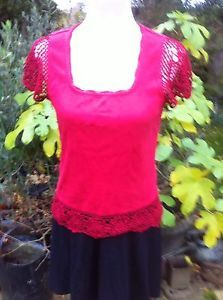 Red Per Una T-shirt With Crocheted Sleeves And Hem Size 14 | eBay