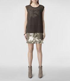 Femme Nisia Screen Dress (Khaki) | ALLSAINTS.com