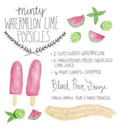 Watermelon Lime Mint Popsicles