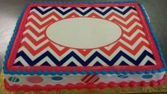 Hot Pink and Navy Chevron Monogram with Pink and Blue Trim and Fondant Dots on a Quarter Sheet