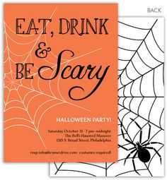 Eat Drink Scary Halloween Invitations