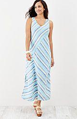 linen striped maxi dress