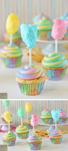 Cotton Candy Cupcakes - such a fun dessert recipe idea for a birthday party. Perfect for a carnival or circus theme! Best Dessert Recipes, Cupcake Recipes, Fun Desserts, Cookies Cupcake, Easter Cupcakes, Dr Seuss Cupcakes, Circus Cupcakes, Cupcake Wars, Gastronomia