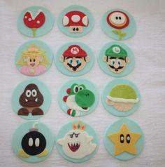 Super Mario Brothers Fondant Cupcake Toppers by LIVCreativity, via Etsy.