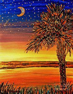 Palmetto Sunset  Painting