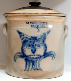 3 gallon Cortland crock with the famous cat head decoration. From the collection of the late Steve Leder.