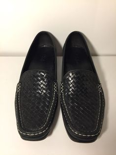 be595037a378e Cole Haan Mens Size 7.5 B Black Woven Leather Slip On Penny Loafers Shoes   fashion