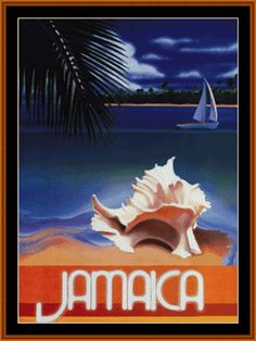 VP-65 - Jamaica - All cross stitch patterns - NEW in June - Places/Destinations - Posters - Vintage Posters - Cross Stitch Collectibles