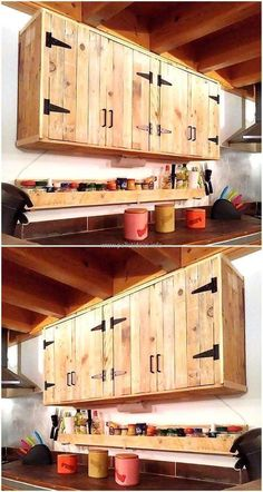 Pallets made kitchen cabinet idea is here, the kitchen can be adorned in the best way with the person's own hands because he/she knows which things are needed in the kitchen while cooking. The cabinets are good for placing the spice bottles and the kitchen utensils in a proper way. #WoodworkingIdeas