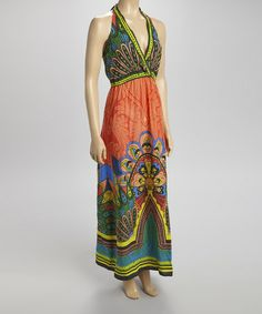 This Orange & Green Abstract Surplice Maxi Dress is perfect! #zulilyfinds