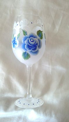 Hand painted wine glass with lacey effect and blue flowers, hand painted wine glasses ,hand painted goblet, handpainted wine glass, wedding. by Aligri on Etsy