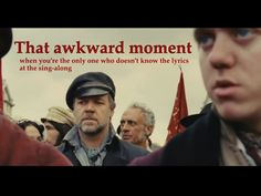 That awkward moment... (this did not stop Russell Crowe from singing)