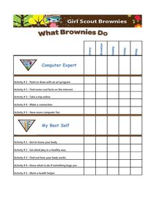 Girl Scout Brownie Badges Chart omg if I only I can be this organized in brownies!