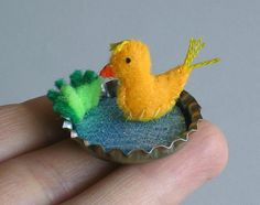 Tiny duck plush in a bottle cap pond playset by wishwithme on Etsy, $12.00
